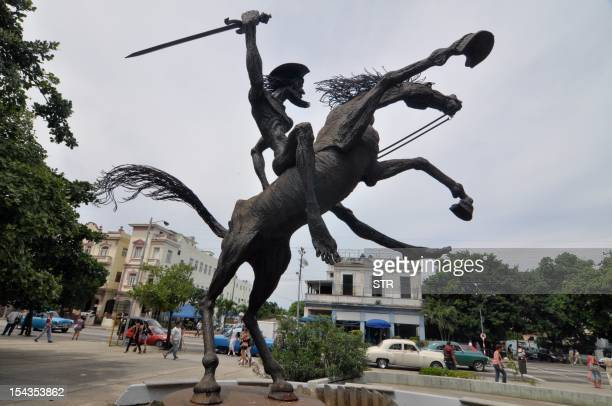 The statue of Don Quijote de la Mancha on October 18 2012 in Havana AFP PHOTO/STR