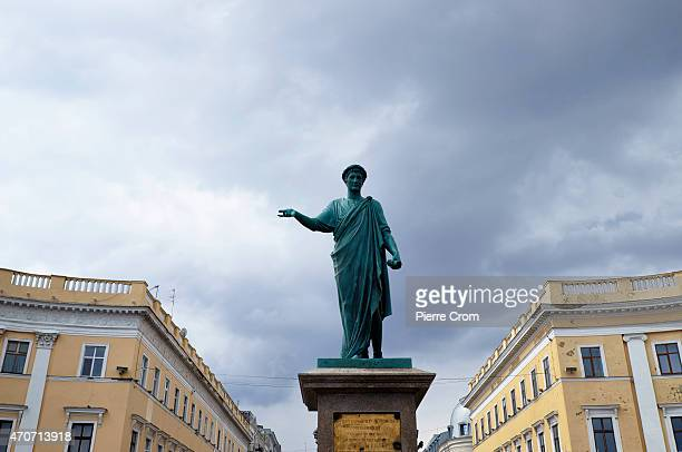 The statue of Duke de Richelieu, first governor of Odessaon at the top of the Potemkin Stairs on April 22, 2015 in Odessa, Ukraine. Although life in...