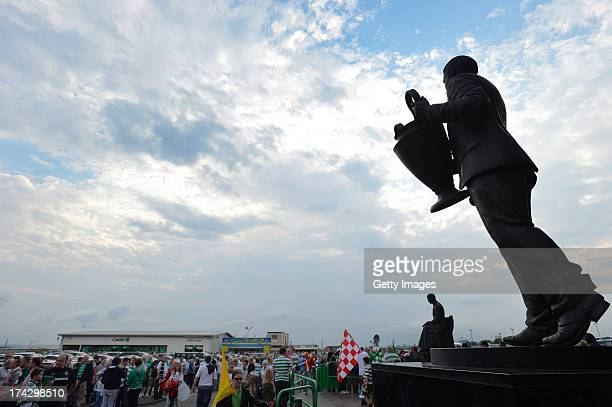 The statue of ex Celtic manager Jock Stein outside Celtic Park during the UEFA Champions League Second Qualifying Round Second Leg match between...
