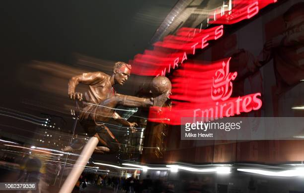The statue of former Arsenal footballer Dennis Bergkamp outside the stadium ahead of the International Friendly between Brazil and Uruguay at...