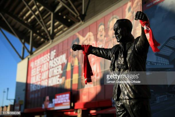 The statue of former Liverpool manager Bill Shankly seen before the UEFA Champions League group E match between Liverpool FC and RB Salzburg at...