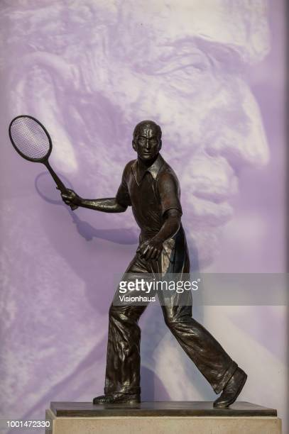 The statue of former Wimbledon winner Fred Perry on day twelve of the Wimbledon Lawn Tennis Championships at the All England Lawn Tennis and Croquet...