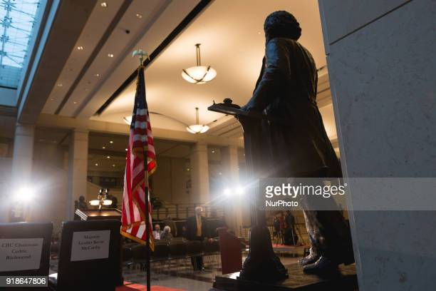The statue of Frederick Douglass stands in Emancipation Hall before the Commemoration of the Bicentennial of his birth in he US Capitol on Wednesday...