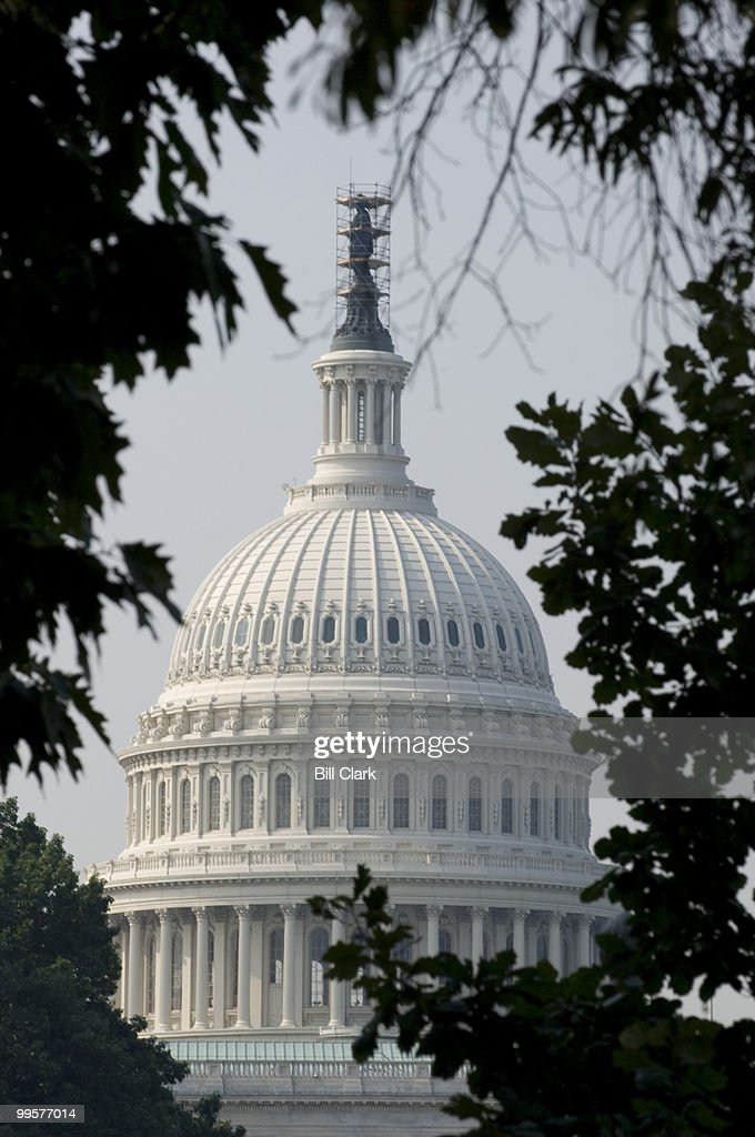 The Statue of Freedom atop the Capitol dome is wrapped by scaffolding for scheduled maintenance and cleaning on Monday July 9, 2007. The work on the stature is expected to take 2 weeks.