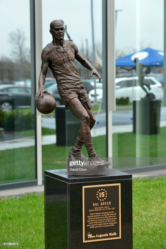 The statue of Hal Greer of the Philadelphia 76ers on April 3, 2018 at the Legends Walk at the practice facility in Camden, New Jersey.