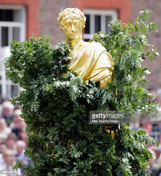 The Statue of HM King Charles II shrouded in oak leaves during the annual Founders Day Parade at Royal Hospital Chelsea on June 4, 2009 in London,...