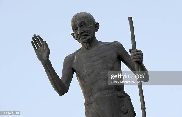 The 'Statue of Hope' paying homage to the late Indian icon Mahatma Gandhi is pictured in downtown Pietermaritzburg on June 14 2010 Gandhi was forced...