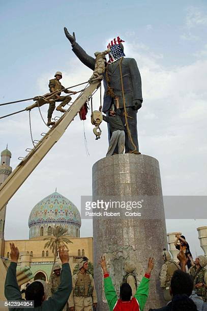 The statue of Iraqi president Saddam Hussein on AlFerdaous square at the centre of Baghdad was took down by an American tank as a symbolic gesture...