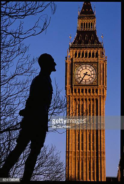 The statue of Jan Christiaan Smuts of South Africa near the Big Ben Clock Tower The statue was created by Jacob Epstein in 1958 and stands in...