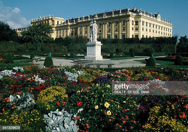 The statue of Janus and Bellona parterre of Schonbrunn Palace Vienna Austria