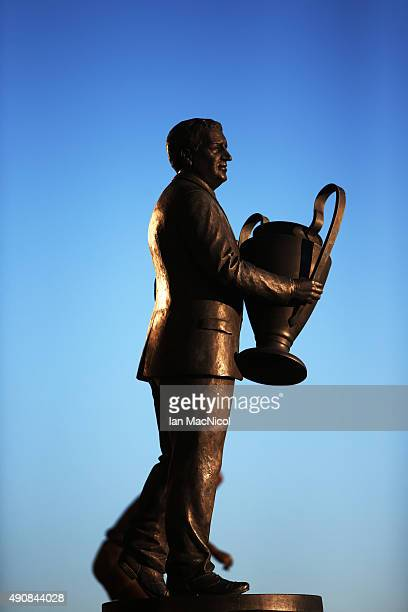 The statue of Jock Stein bathed in evening sunshine before the UEFA Europa League match between Celtic FC and Fenerbahce SK at Celtic Park on October...