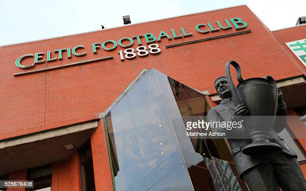 The statue of Jock Stein holding the UEFA European Cup trophy outside Park Head the home stadium of Celtic