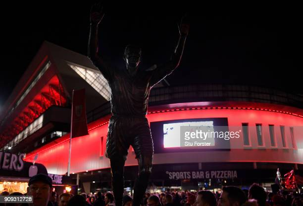 The statue of John Atyeo is seen outside the stadium prior to the Carabao Cup semifinal second leg match between Bristol City and Manchester City at...