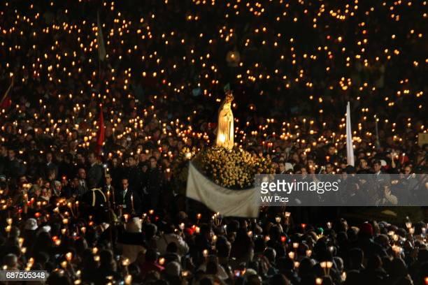 The statue of Lady of Fatima during vigil in Fatima's Sanctuary in Portugal.