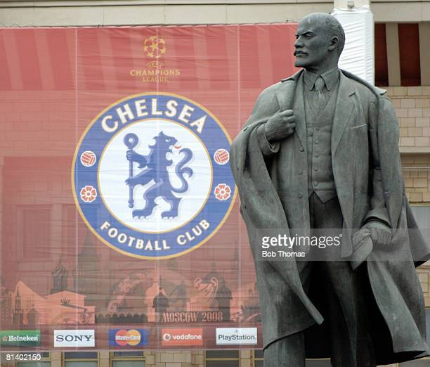 The statue of Lenin in front of the Chelsea club badge before the start of the UEFA Champions League Final between Manchester United and Chelsea held...