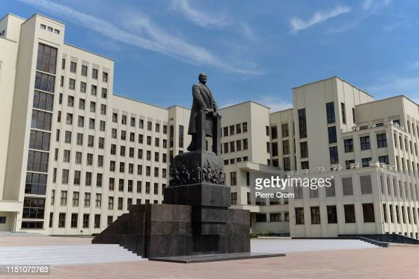 The statue of Lenin is seen outside the government building as Belarus economy achieves GDP growth on June 19 2019 in Minsk Belarus