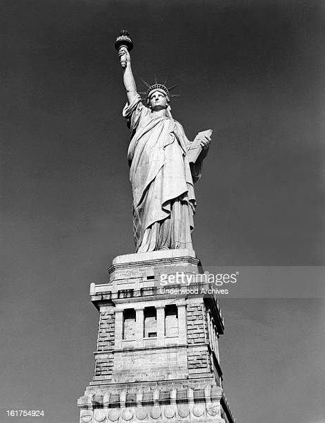 The Statue of Liberty in NY harbor, New York, New York, late 1930s.