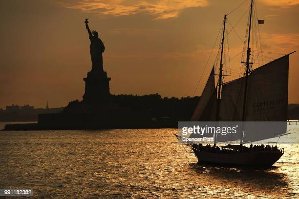 The Statue of Liberty stands in New York Harbor as America prepares to celebrate the 4th of July on July 3, 2018 in New York City. Across the nation,...