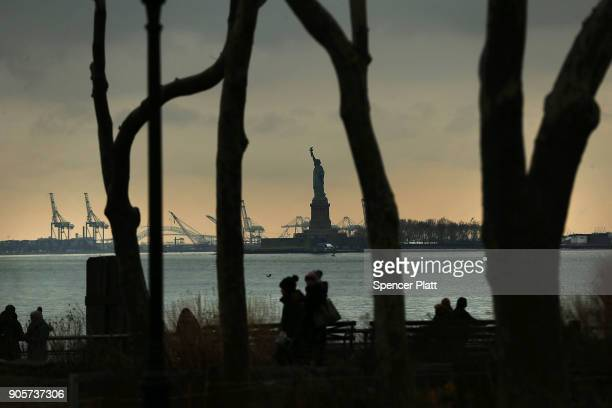 The Statue of Liberty stands in New York Harbor on January 16 2018 in New York City New York Governor Andrew Cuomo has written a letter to Interior...