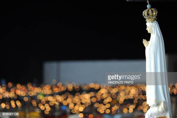 The statue of Madonna of Fatima is pictured at the Chapel of the Apparitions in Fatima's Sanctuary on May 12 2010 Up to 500000 are expected to attend...