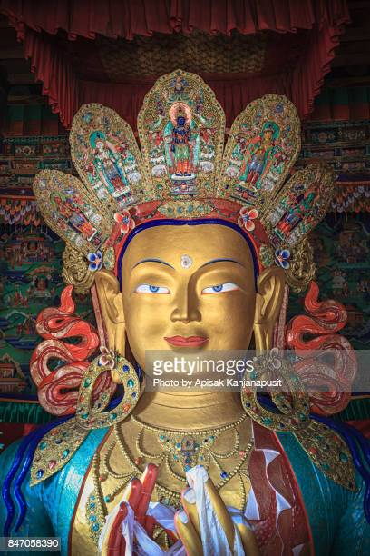 The statue of Maitreya Buddha at Thikse is two storeys tall. Leh Ladakh, India