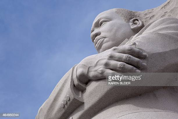 The statue of Martin Luther King is seen at the MLK Memorial February 28 2015 in Washington DC AFP PHOTO / KAREN BLEIER
