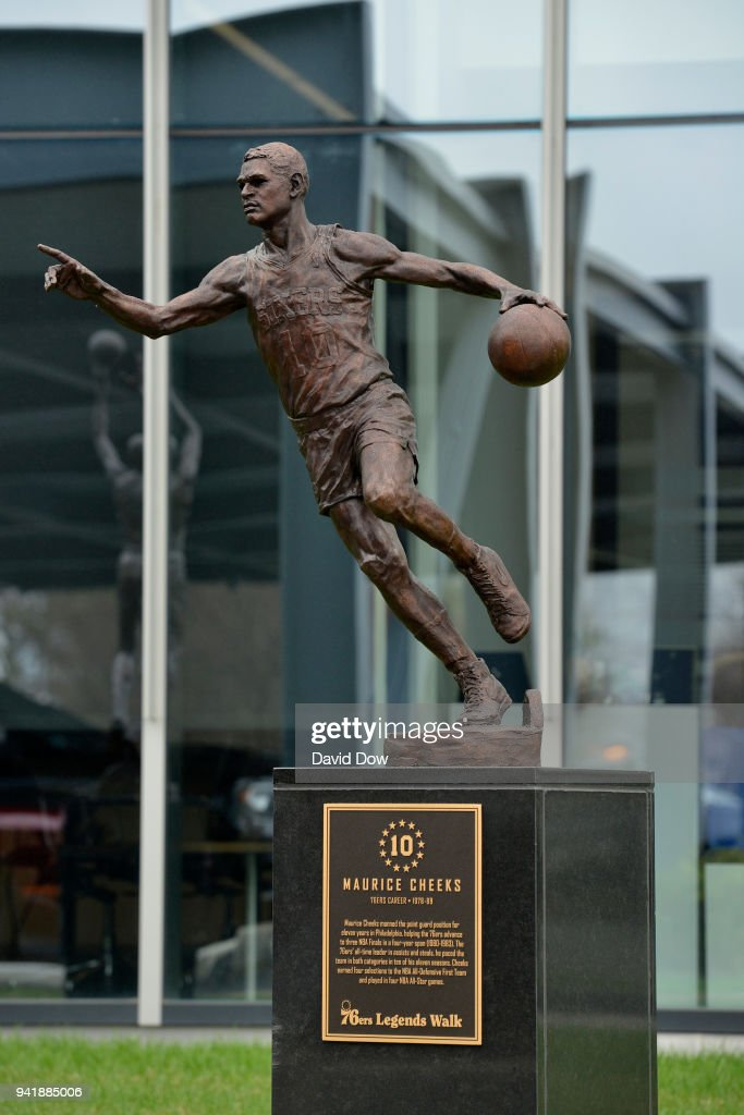 The statue of Maurice Cheeks of the Philadelphia 76ers on April 3, 2018 at the Legends Walk at the practice facility in Camden, New Jersey.