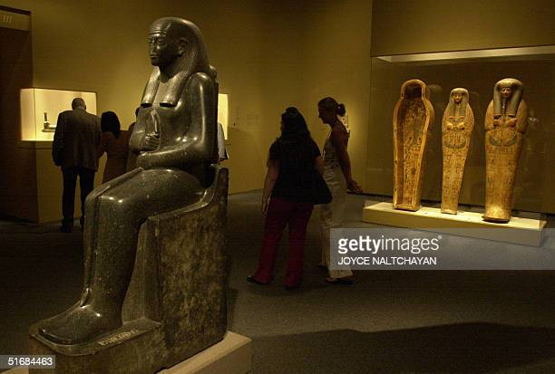 The statue of mummiform deity and the Anthhropoid coffin with inner board are among the largest group of antiquities ever loaned by Egypt for a North...