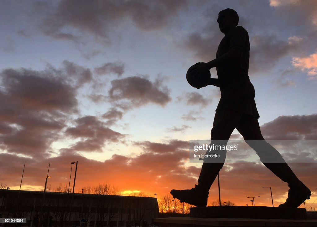 The statue of Nat Lofthouse with a setting sun in the background before the Sky Bet Championship match between Bolton Wanderers and Sunderland at Macron Stadium on February 20, 2018 in Bolton, England.