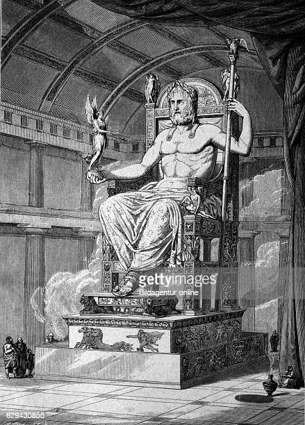The statue of olympian zeus by phidias zu olympia 456 bc one of the seven wonders of the ancient world historical illustration circa 1886
