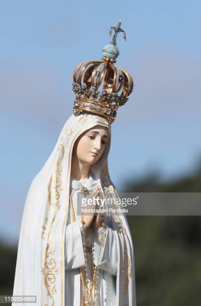 The Statue of Our Lady of Fatima during the Holy Mass celebrated by Pope Francesco on the occasion of the canonization of the shepherd children...