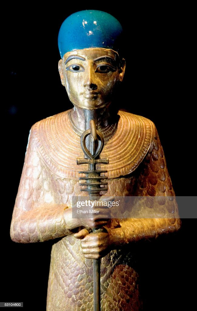 The Statue of Ptah is on display during the 'Tutankhamun And The Golden Age Of The Pharaohs' Exhibit Opening at LACMA on June 15, 2005 in Los Angeles, California. Statue of Ptah is holding a was scepter, along with an ankh for life and djed pillar for stability.