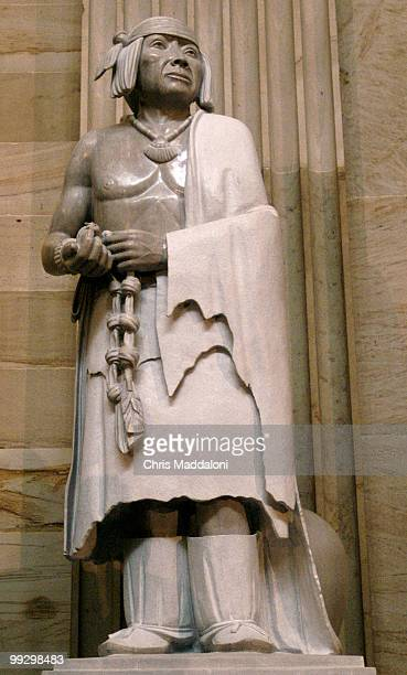 The statue of Pueblo leader Po'pay in the Rotunda of Capitol Po'pay led a revolt against the Spanish in 1680 that helped cement native culture