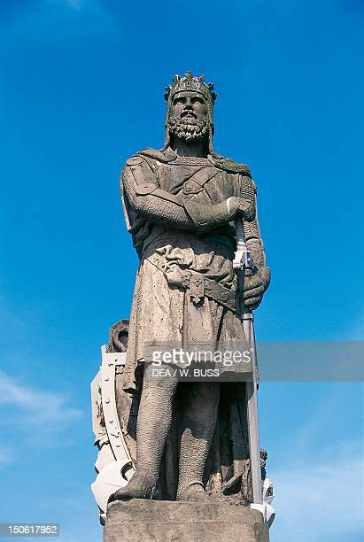 The statue of Robert The Bruce at the site of the Battle of Bannockburn in front of Stirling Castle Scotland United Kingdom