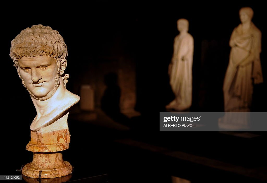 The statue of Roman Emperor Nero is pict : News Photo