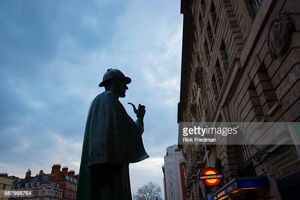 The statue of Sherlock Homes by sculptor John Doubleday stands near the site of the fictional detective's home at 221B Baker Street in London UK on...