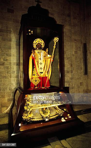 The statue of St Nicholas on display inside the Basilica of Saint Nicholas Bari Apulia Italy
