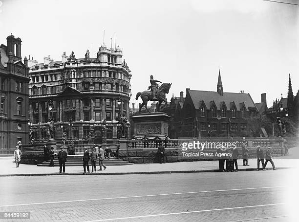 The Statue of the Black Prince Edward Prince of Wales in Leeds city centre Yorkshire July 1921