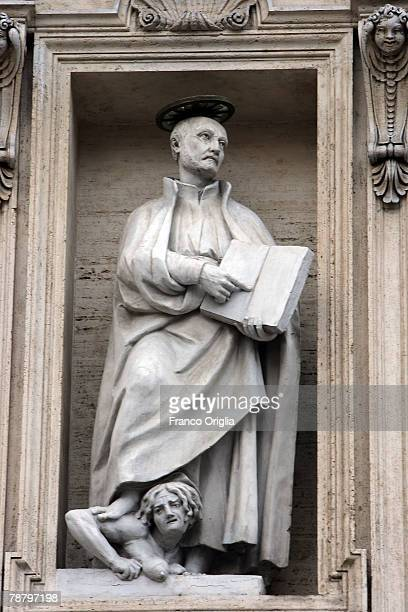 The Statue of the Jesuits founder St Ignace of Loyola is featured on the front of the St Ignace's church during the opening of the General...