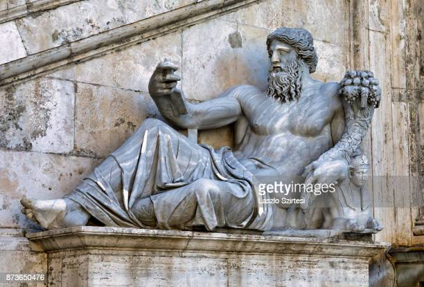The Statue of the Nile River is seen at the Palazzo Senatorio on October 31 2017 in Rome Italy Rome is one of the most popular tourist destinations...