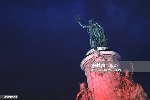 The statue of the Republic by sculptor Leopold Meurice is pictured on the place de la Republique on November 10 2018 in Paris