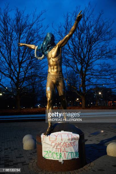 The statue of the Swedish football player Zlatan Ibrahimovic covered in plastic and with a toilet seat on the arm is pictured in Malmoe November 27...