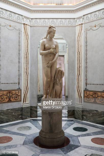 The statue of Venus is seen on the first day of opening of the Capitoline Museums after more than two months of lockdown on May 19, 2020 in Rome,...