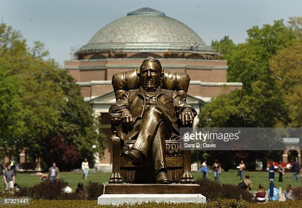 The statue of Washington Duke on Duke University's East Campus with Baldwin Auditorium is shown April 11, 2006 in Durham, North Carolina. The...