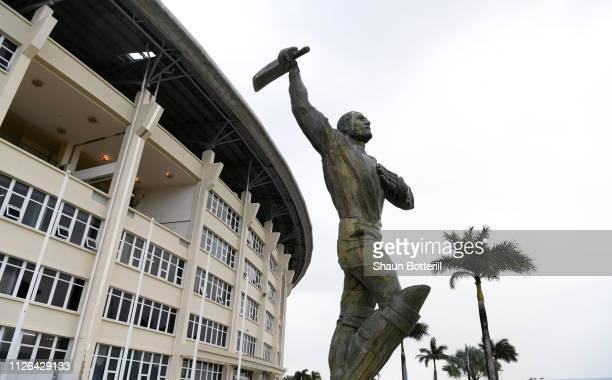 The statue of West Indies cricketer Sir Vivian Richards ahead of the 2nd Test between the West Indies and England at Sir Vivian Richards Stadium on...