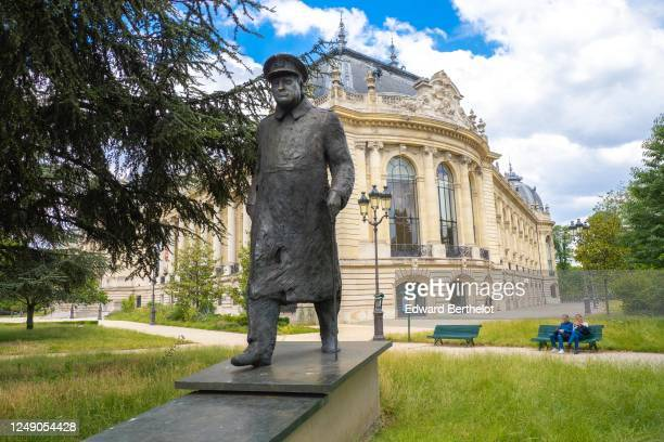 The statue of Winston Churchill is seen in front of the Petit Palais on June 11 2020 in Paris France