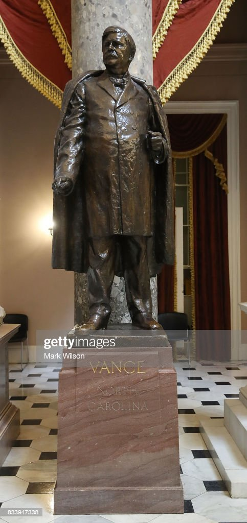 The statue of Zebulon Baird Vance, who was a Confederate military commander during the Civil War, stands inside of Statuary Hall at the US Capitol August 17, 2017 in Washington, DC. House Minority Leader Nancy Pelosi (D-CA) has called for the removal of all Confederate statues from the United States Capitol.