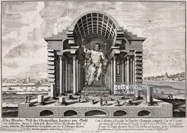 The Statue of Zeus at Olympia one of the Seven Wonders of the Ancient World 436 BC chryselephantine sculpture sculptor Phidias Greece engraving from...