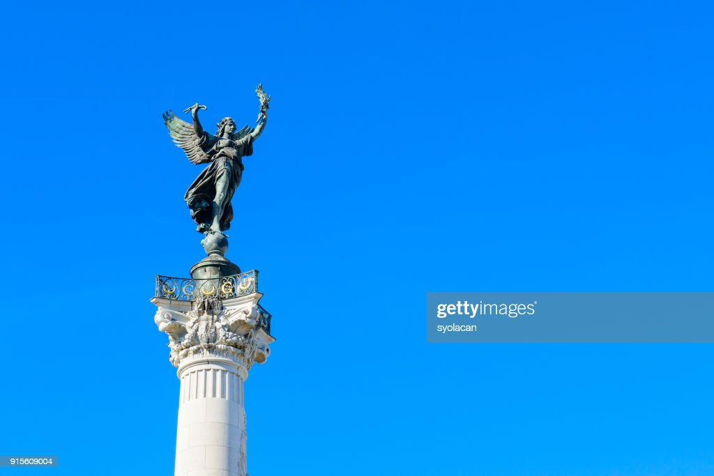 The Statue on top of the Monument of Girondins in Bordeaux : Stock Photo