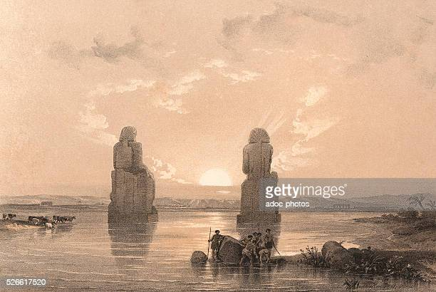 The statues of Amenophis during the inundation of the Nile Ca 1845 Lithography by David Roberts